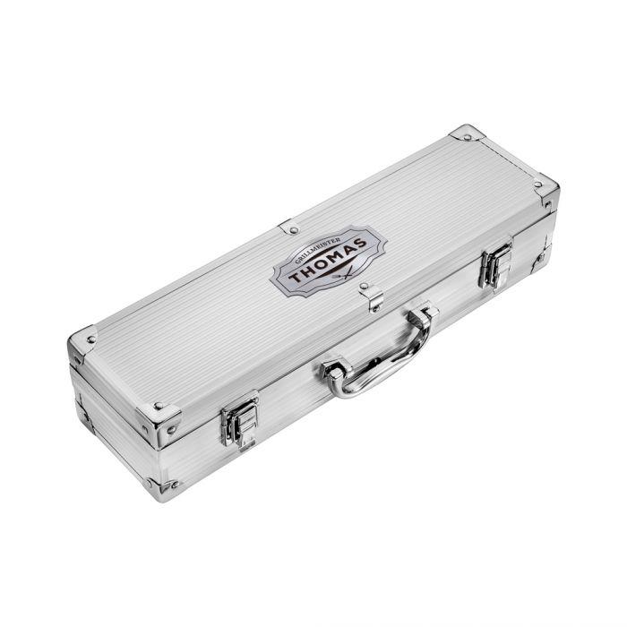 Deluxe Grillbesteck im Koffer - Grillmeister Gravur