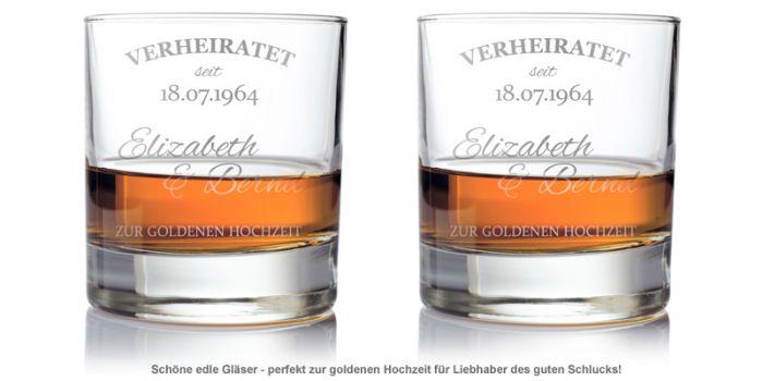 Whiskygläser zur goldenen Hochzeit