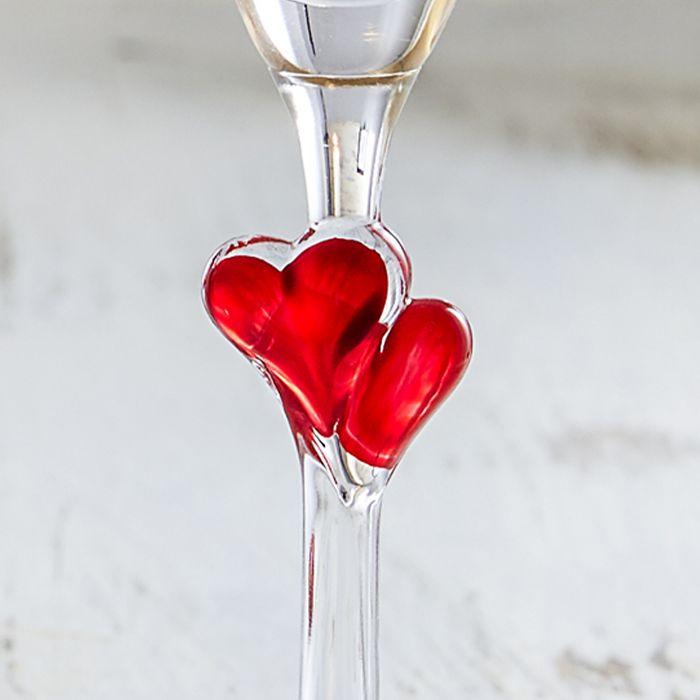 Herzen Sektgläser - Liebestauben Gravur