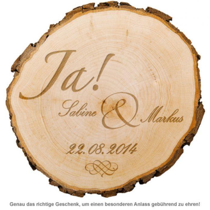 Baumscheibe zur Hochzeit - Jawort Gravur
