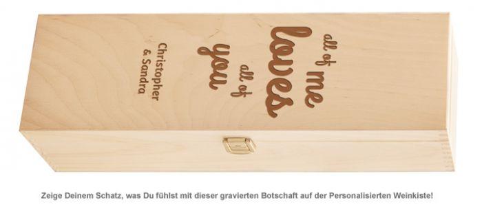 Personalisierte Weinkiste - Liebesbotschaft