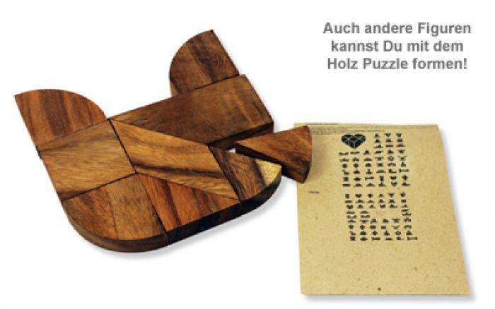 Graviertes Holz Puzzle Herz - Nur Du
