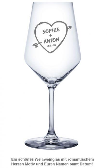 Weißweinglas mit Gravur - Amors Pfeil