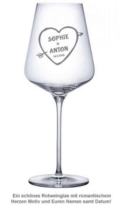 Weinglas mit Gravur - Amors Pfeil