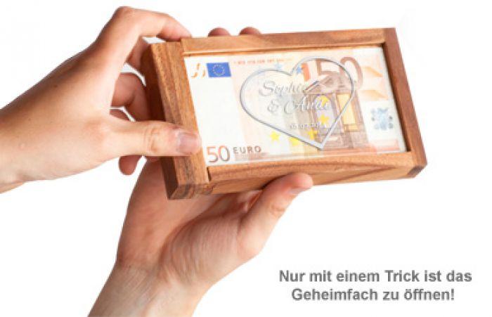 Magische Geldgeschenkbox - Herz Gravur