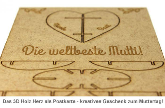 Postkarte 3D Herz aus Holz zum Muttertag