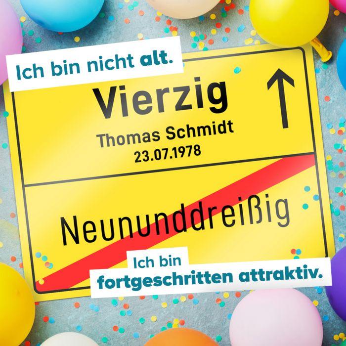 Personalisiertes Ortsschild - 40. Geburtstag