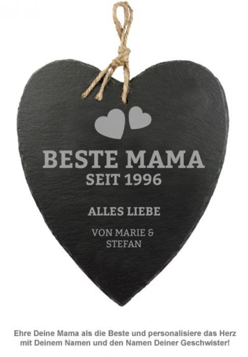 Schieferherz mit Gravur - Beste Mama von Herzen