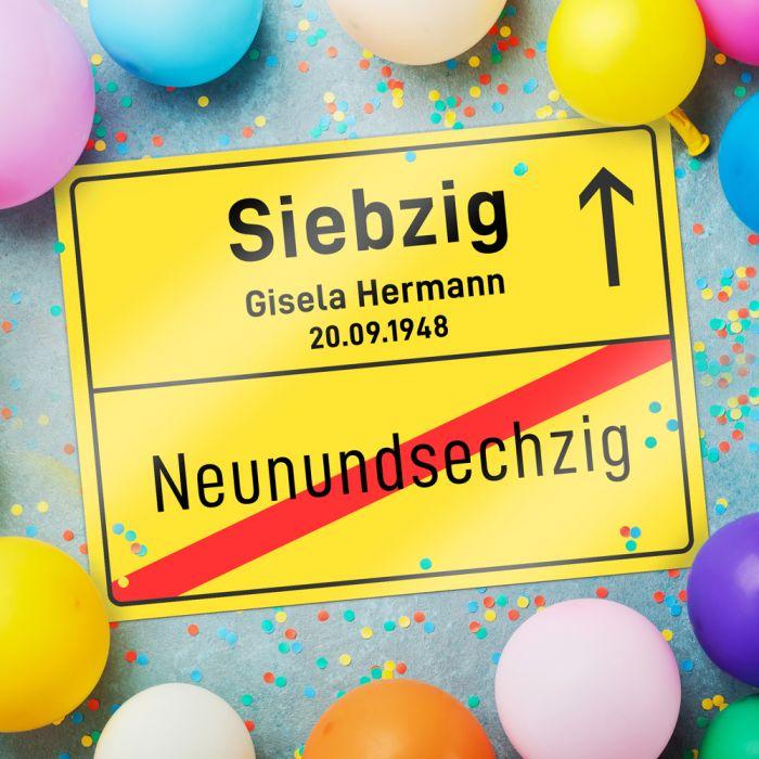 Personalisiertes Ortsschild - 70. Geburtstag