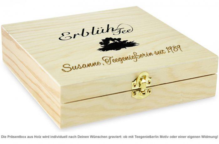 Erblühtee in edler Holzbox mit Gravur - Schwarztee