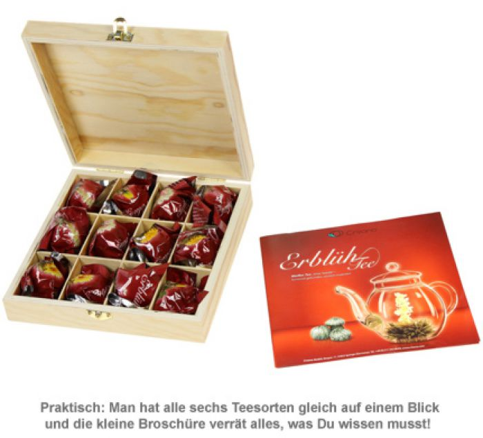 Erblühtee in edler Holzbox mit Gravur - Weißer Tee