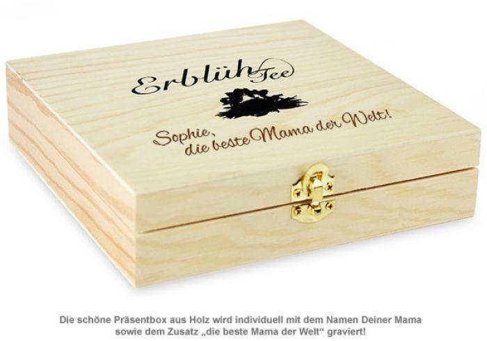Erblühtee in edler Holzbox mit Beste Mama Gravur - Weißer Tee