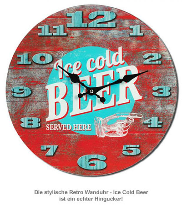 Retro Wanduhr - Ice Cold Beer