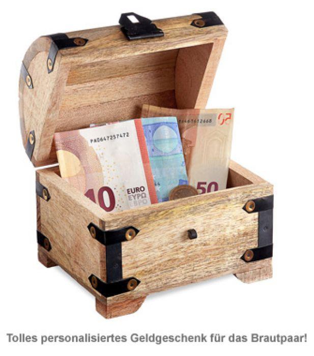 Geld Schatztruhe zur Hochzeit - Liebestauben Gravur