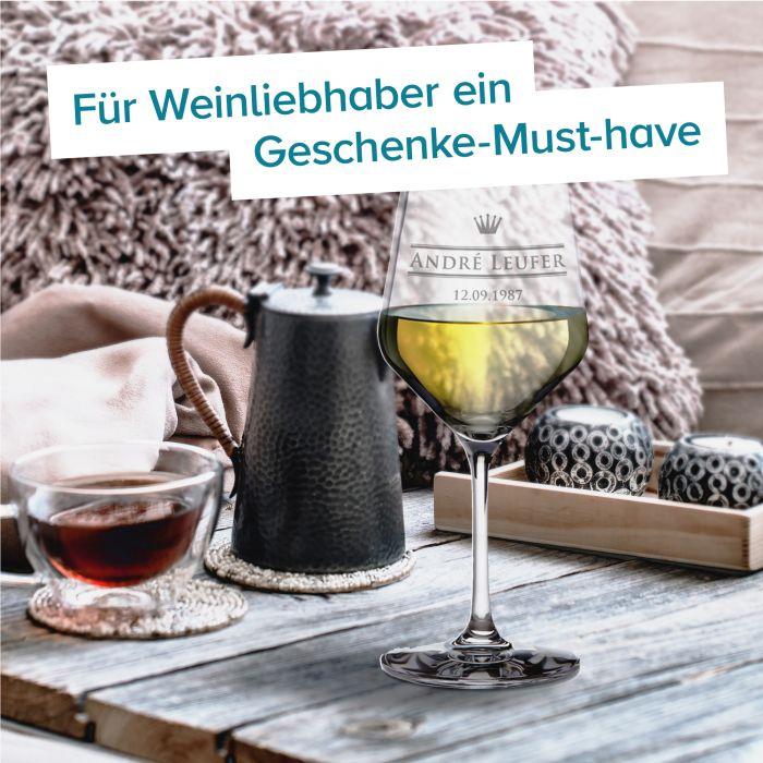 Weißweinglas mit Gravur - Royal