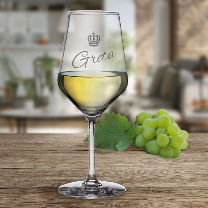 Weißweinglas mit Gravur - Königin Krone