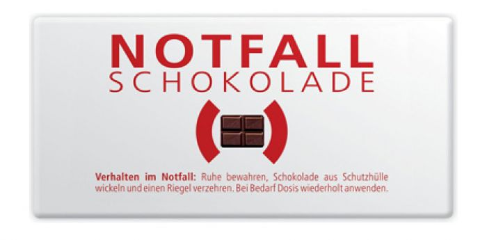 notfallschokolade f r den ernstfall 30g emergency edelvollmilch. Black Bedroom Furniture Sets. Home Design Ideas