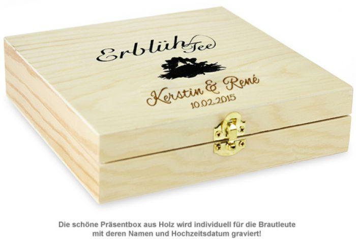 Erblühtee in edler Holzbox zur Hochzeit - Schwarztee