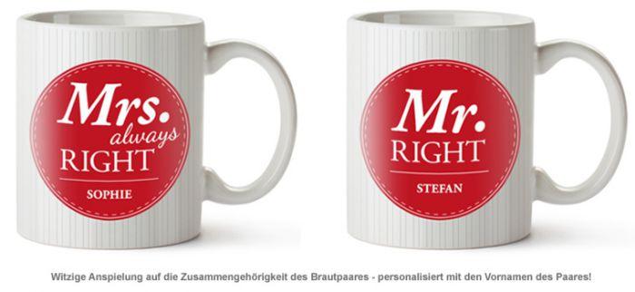 Personalisiertes Tassen Set - Mr and Mrs Right