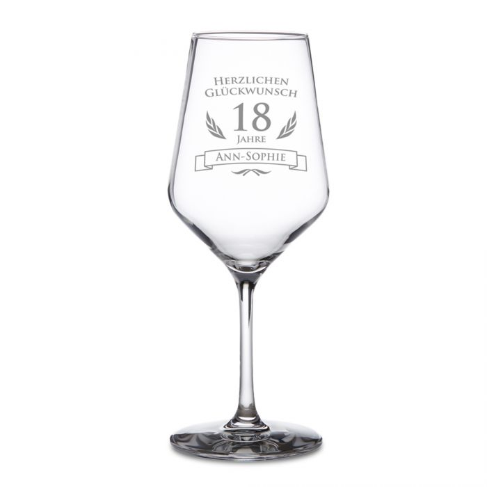 Weißweinglas zum 18. Geburtstag