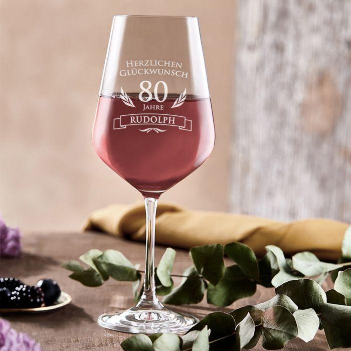 Weinglas zum 80. Geburtstag