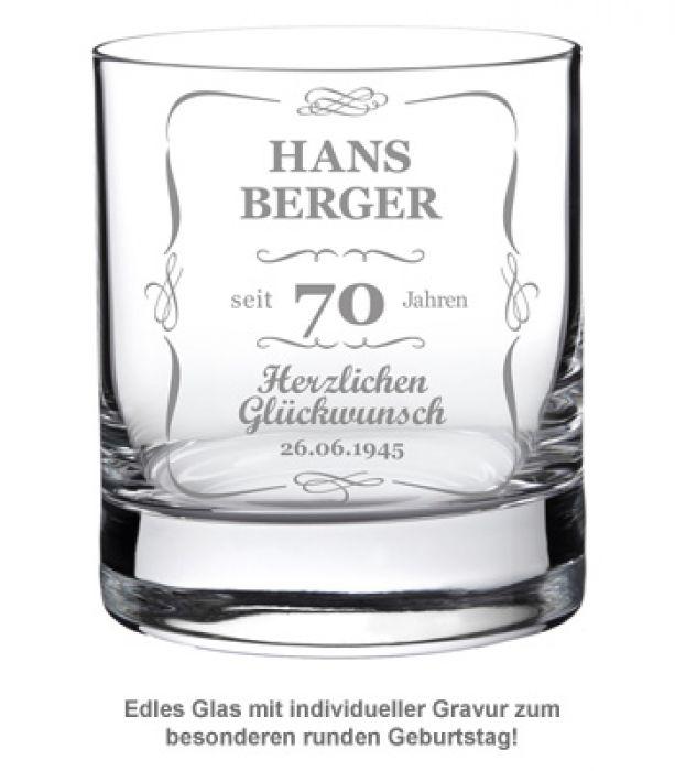 Whiskyglas 70. Geburtstag - klassisch