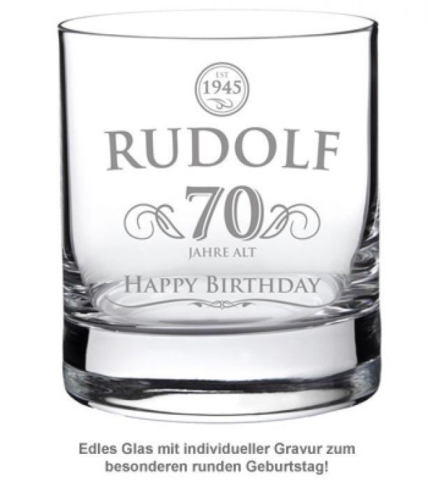 Whiskyglas 70. Geburtstag - elegant