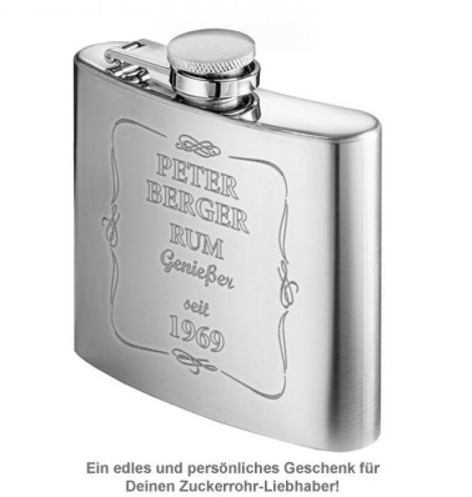 Flachmann mit Gravur - Rum Genießer