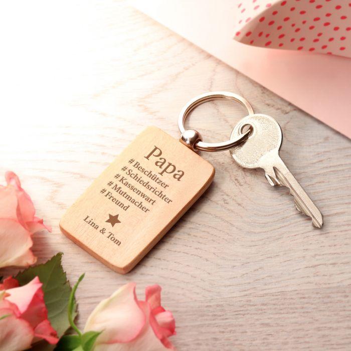 Schlüsselanhänger graviert - Hashtag Papa