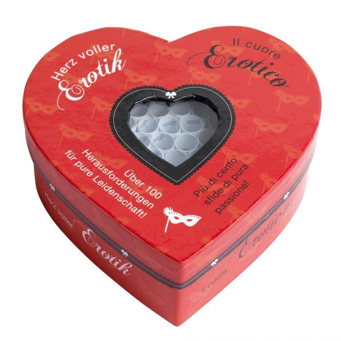 Herz voller Erotik - Set mit 100 Losen für Paare