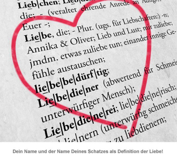 Liebesdefinition - personalisiertes Bild Weiß