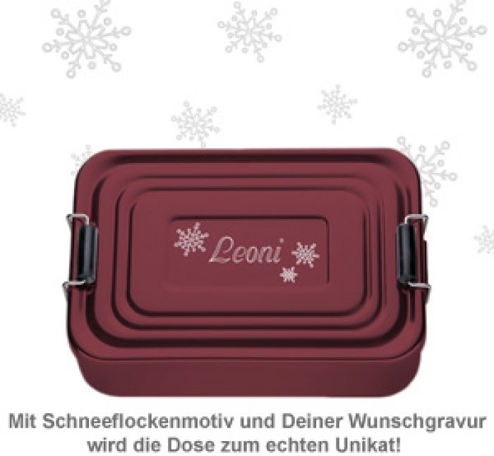 Gravierte Lunchbox zu Weihnachten - quadratisch (rot)