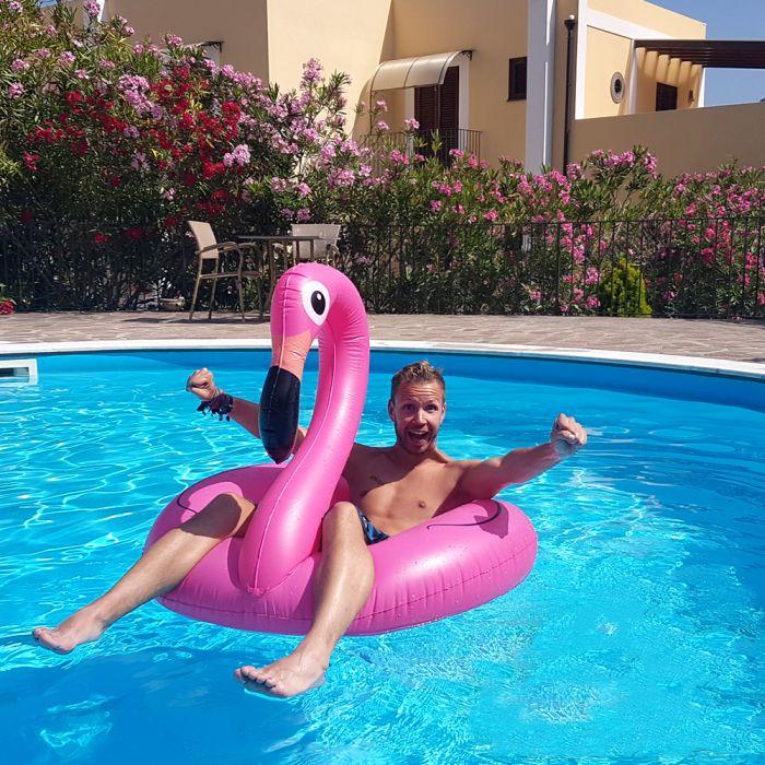 Aufblasbare Luftmatratze - Flamingo