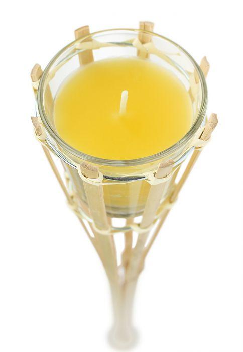 Gartenfackel mit Duftkerze im Glas - gelb