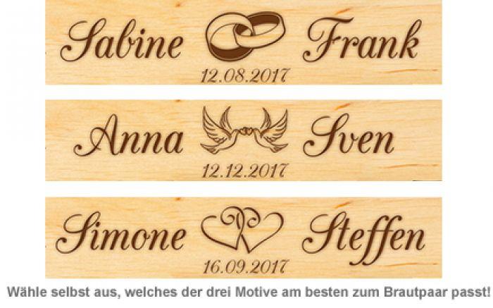 Personalisierte Schnapsbank zur Hochzeit