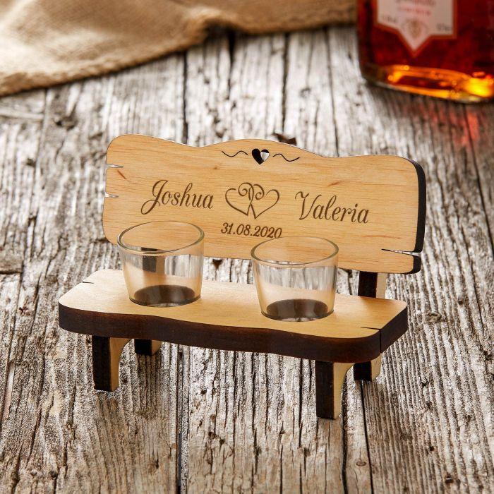 Banc à shots personnalisé pour le mariage