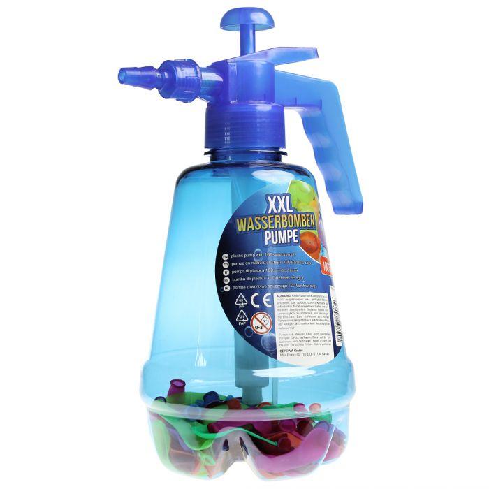 Wasserbombenfüller - Pumpe mit 100 Wasserballons - blau