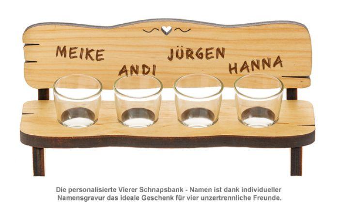 Personalisierte Vierer Schnapsbank - Namen