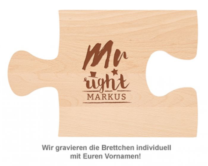 Personalisiertes Puzzle Brettchen Set - Mr and Mrs Right