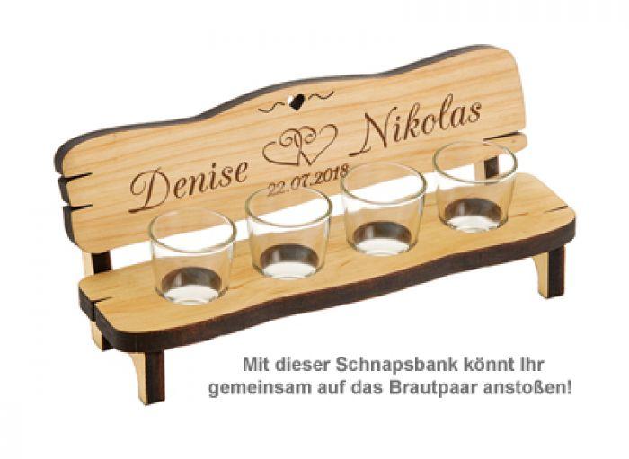 Personalisierte Vierer Schnapsbank - Hochzeit