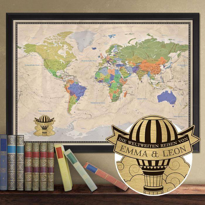 Reise-Weltkarte Deluxe mit Stecknadeln - Heißluftballon