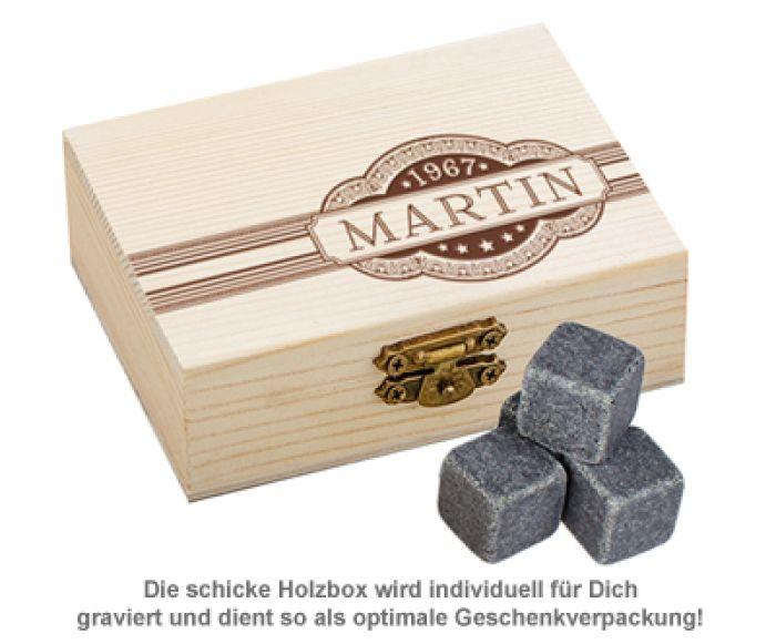 Whisky Steine in Holzkiste mit Gravur - Banderole