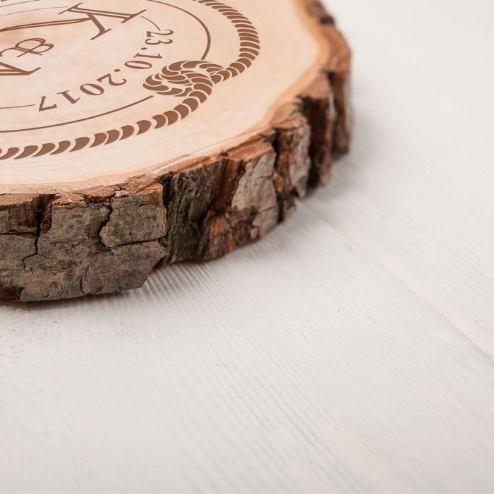 Baumscheibe mit Gravur - Anker und Knoten