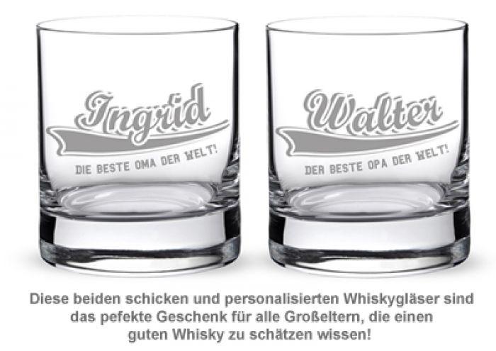 Whiskygläser mit College Motiv - Oma & Opa