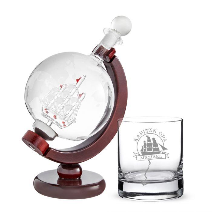 Rum Set mit Globus Karaffe und Glas - Segelschiff für Opa