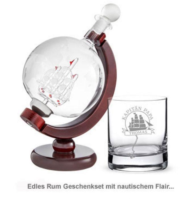 Rum Set mit Globus Karaffe und Glas - Segelschiff für Papa