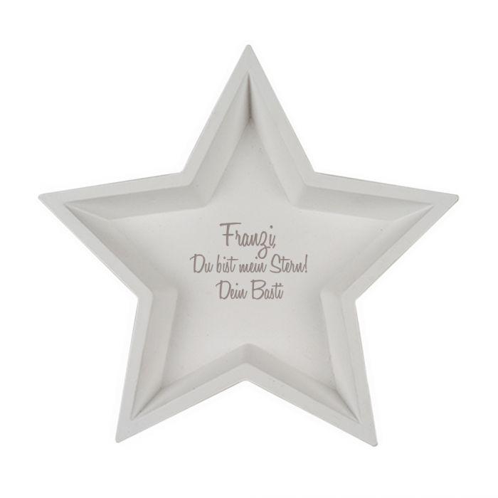 Deko Holzschalen mit Gravur - Stern Weiß
