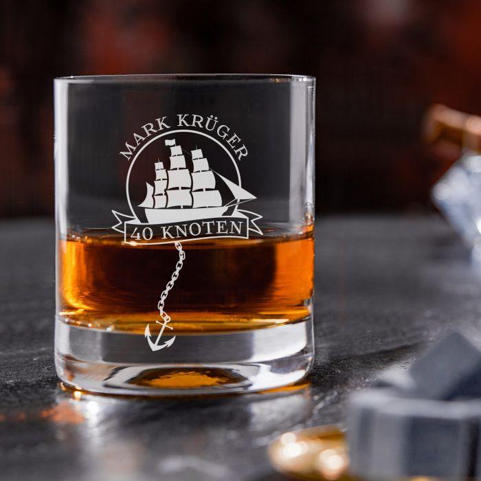Rum Set mit Globus Karaffe und Glas - Segelschiff