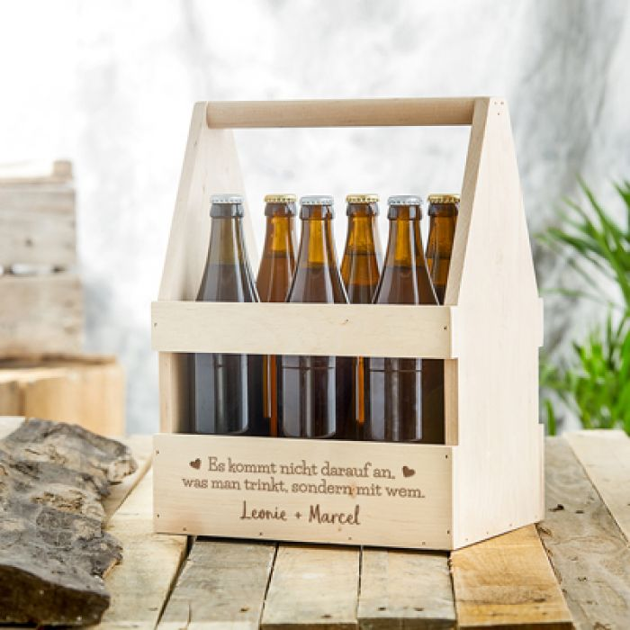 Personalisierter Flaschenträger mit Weingläsern - Liebesspruch