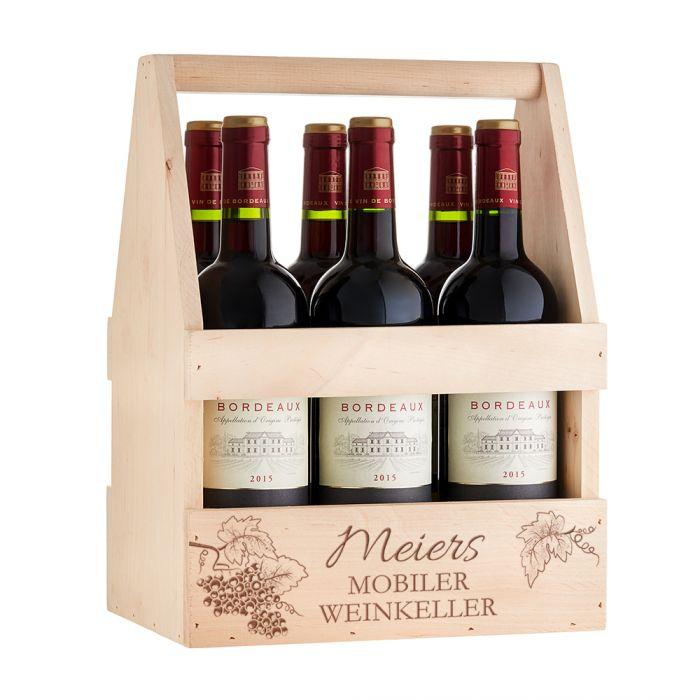 Flaschenträger mit Gravur - Mobiler Weinkeller